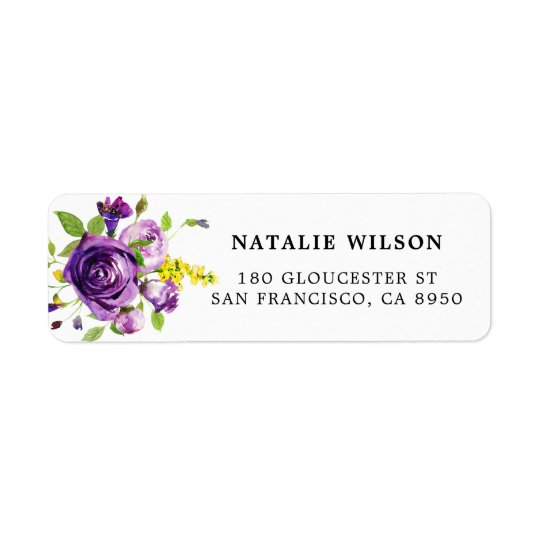 Watercolor Purple Roses Botanical Address Label