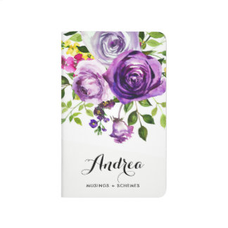 Watercolor Purple Roses Botanical Personalized Journal