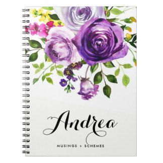 Watercolor Purple Roses Botanical Personalized Notebook