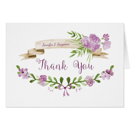 Watercolor Purple Roses Greenery Thank You Card