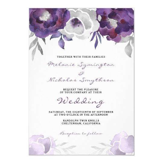 Watercolor Purple Silver Floral wedding 3963 Card