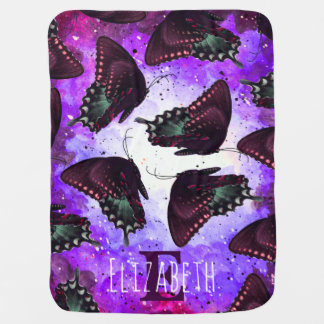 Watercolor Purple Space Nebula Mauve Butterflies Baby Blanket
