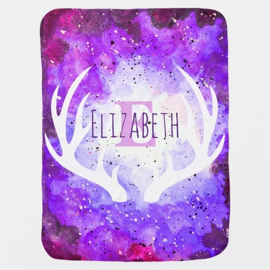 Watercolor Purple Space Nebula White Deer Antlers Buggy
