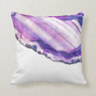 Watercolor Purple Violet Agate Geode Cushion