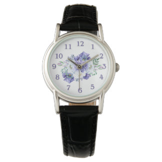 Watercolor Purple White Anemones Peonies Wristwatches