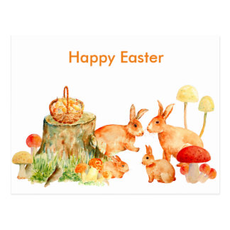 Watercolor Rabbit Family Postcard