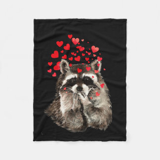 Watercolor Raccoon Blowing Kisses Cute Animal Art Fleece Blanket