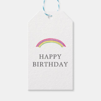 Watercolor Rainbow Birthday Present Gift Tag