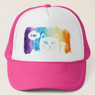 Watercolor Rainbow Cat Trucker Hat