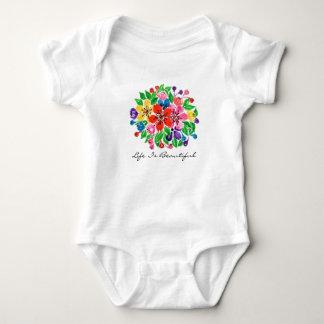 Watercolor Rainbow Flowers Baby Bodysuit