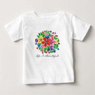 Watercolor Rainbow Flowers Baby T-Shirt