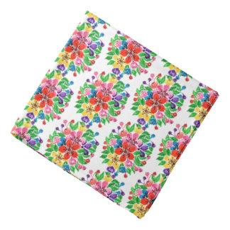 Watercolor Rainbow Flowers Bandana