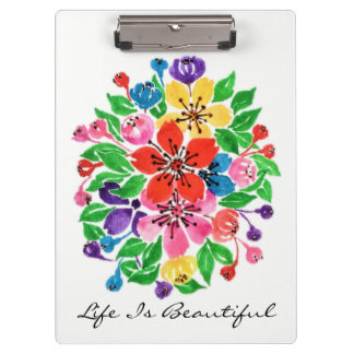 Watercolor Rainbow Flowers Clipboard