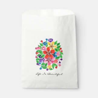 Watercolor Rainbow Flowers Favour Bags