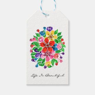 Watercolor Rainbow Flowers Gift Tags