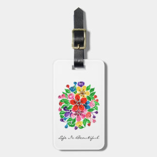 Watercolor Rainbow Flowers Luggage Tag
