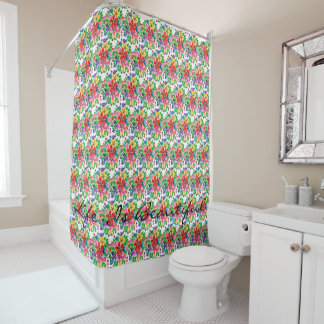Watercolor Rainbow Flowers Shower Curtain