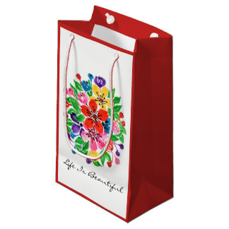 Watercolor Rainbow Flowers Small Gift Bag
