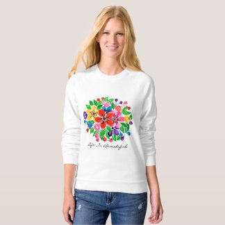 Watercolor Rainbow Flowers Sweatshirt