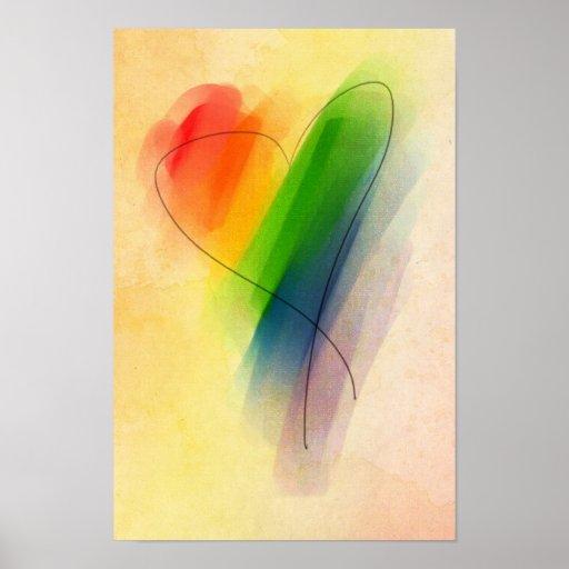 Watercolor Rainbow Heart Poster