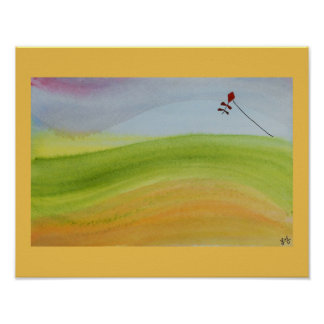 Watercolor rainbow landscape with kite poster