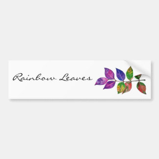 Watercolor Rainbow Leaves Bumper Sticker
