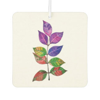 Watercolor Rainbow Leaves Car Air Freshener