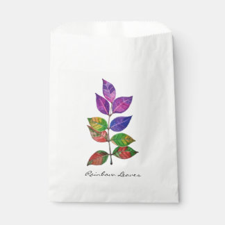Watercolor Rainbow Leaves Favour Bags