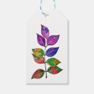 Watercolor Rainbow Leaves Gift Tags