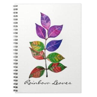 Watercolor Rainbow Leaves Notebook