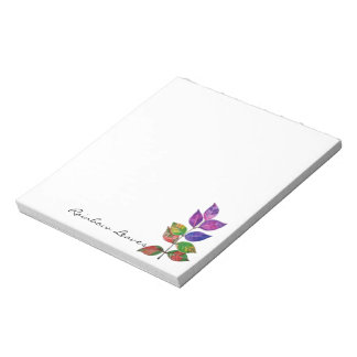 Watercolor Rainbow Leaves Notepad