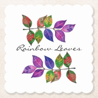 Watercolor Rainbow Leaves Paper Coaster