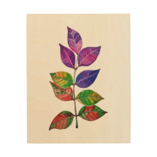 Watercolor Rainbow Leaves Wood Wall Decor
