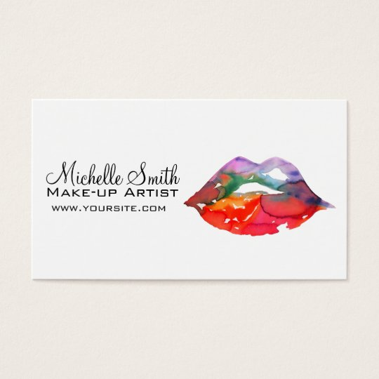 Watercolor rainbow lips makeup branding business card