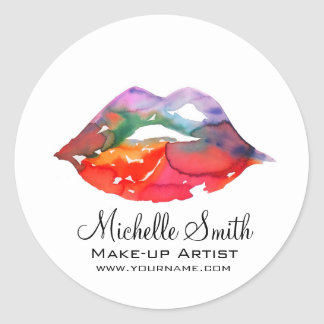 Watercolor rainbow lips makeup branding classic round sticker