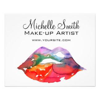Watercolor rainbow lips makeup branding flyer