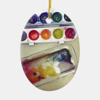 Watercolor Rainbow Paint Palette Ceramic Oval Decoration