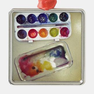 Watercolor Rainbow Paint Palette Silver-Colored Square Decoration