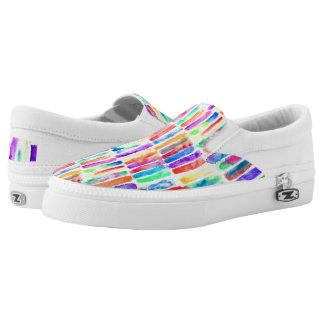 Watercolor Rainbow Slip On Shoes