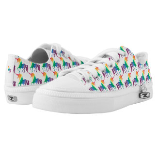 Watercolor Rainbow Unicorn Pattern Trendy Stylish Low Tops