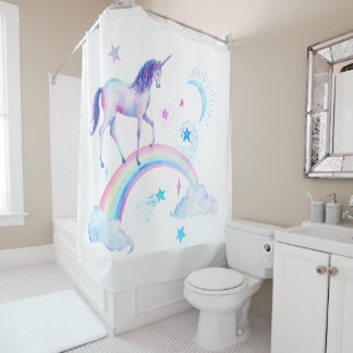 Watercolor Rainbow Unicorn Shower Curtain