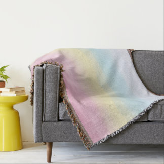 Watercolor Rainbows Pastel Throw Blanket