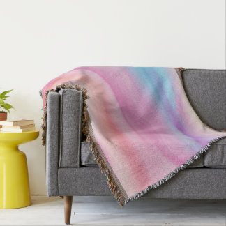 Watercolor Rainbows Throw Blanket