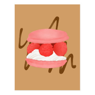 Watercolor Raspberry Cream Macaron Chocolate Swirl Postcard