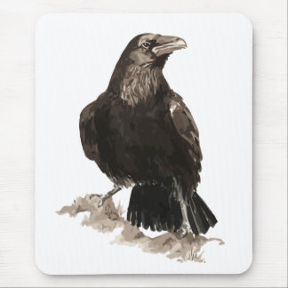 Watercolor Raven Bird & Animal Art Mouse Mat