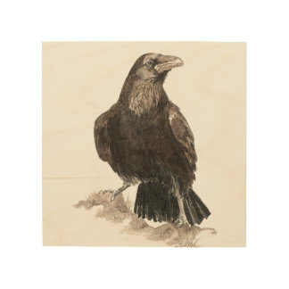 Watercolor Raven Bird Animal Nature Art