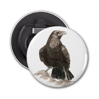 Watercolor Raven Bird Nature Art Bottle Opener