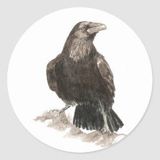 Watercolor Raven Bird Nature Art Classic Round Sticker