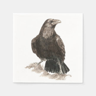 Watercolor Raven Bird Nature Art Paper Napkin