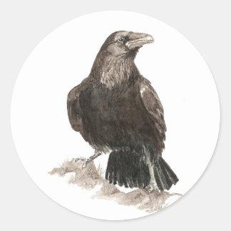 Watercolor Raven Bird Nature Art Round Sticker